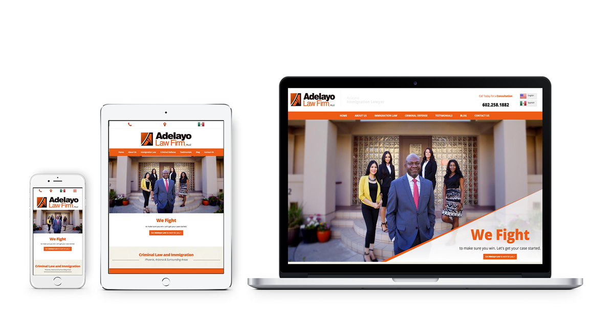 Adelayo Law - Responsive website design, logo design, print management